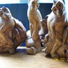 """My Bali  hand carved Monkeys and bird From what they call """"Wood Rose"""""""
