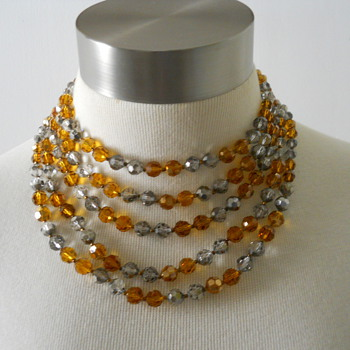 Marvella Smoke and Amber Crystal Necklace - Costume Jewelry