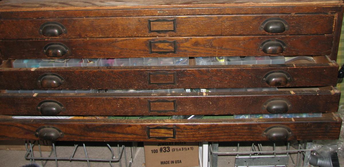 Gorgeous Antique Dark Oak Architect S Flat File Cabinet