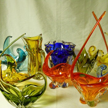 A Mixture for Glass Addiction, Twisted Neck,Swirly Arms,A Dance of Coloured Glass- C1960-70 - Art Glass