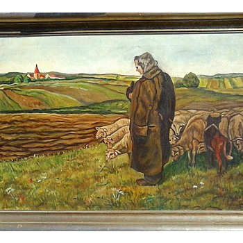 """Shepherd With Flock"" Signed ""A. Kirsten"" / Oil On Canvas 42""x 28"" Framed/ Circa 20th Century - Fine Art"