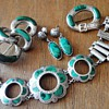 ANTIQUE SCOTTISH SILVER MALACHITE JUWELRY  