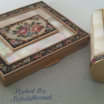 MINT Vintage Schildkraut Petitpoint and Mother of Pearl Square Compact with Lipstick Case