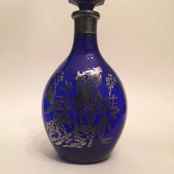 Cobalt Pinch Decanter with Sterling Overlay