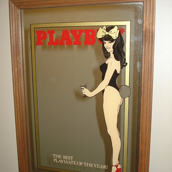 VINTAGE PLAYBOY MIRROR/NEON BUNNY SIGN/LIGHT-UP SIGN/PILLOW
