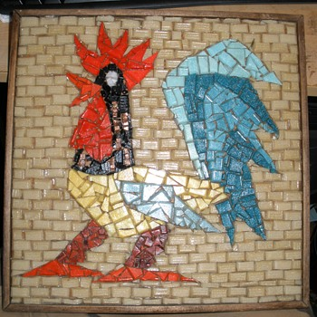 Broken Glass & Glass 'Brick' Folk Art Rooster Wall Art