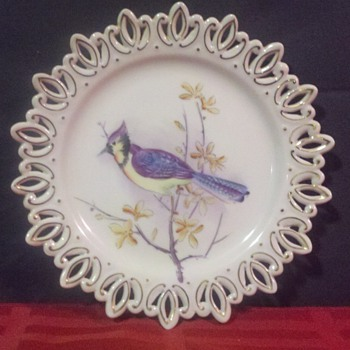 Lefton Crotcheted Blue Jay Plate