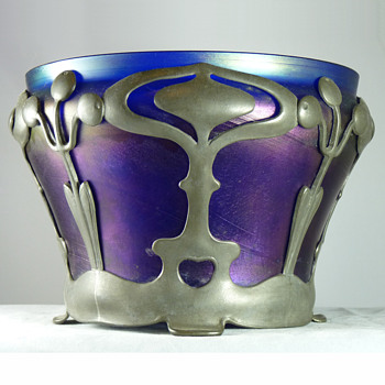 Iridescent Blue Jardiniere with Van Hauten Pewter Mount - Art Nouveau