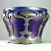 Iridescent Blue Jardiniere with Van Hauten Pewter Mount