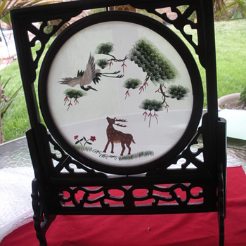 HAND CARVED FRAME WITH NEEDLE POINT PICTURE - Arts and Crafts