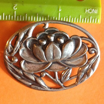 Repousse Water Lily Sterling Brooch - Sterling Silver
