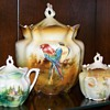 parrot biscuit jar with mustard pots in same mold