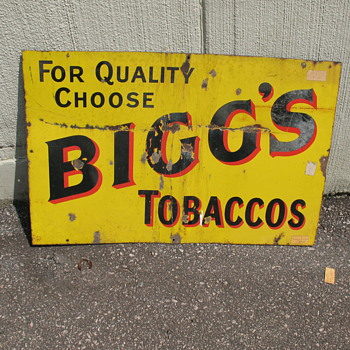 Biggs Tobaccos Sign - Tobacciana