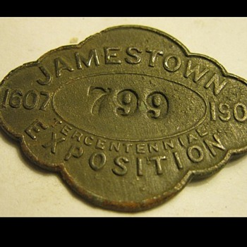 Jamestown Exposition Employee Badge - Medals Pins and Badges