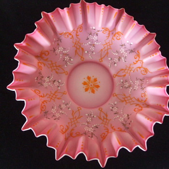 Large Pink Enamelled BRIDE'S BASKET Bowl Only- Who Made it?
