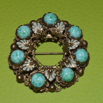 Peking glass? filigree brooch - Neiger?