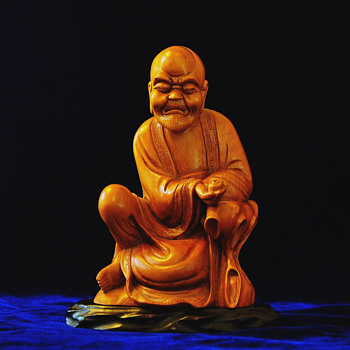 Antique Chinese Qing period Carved Boxwood Monk(Luohan) - Asian
