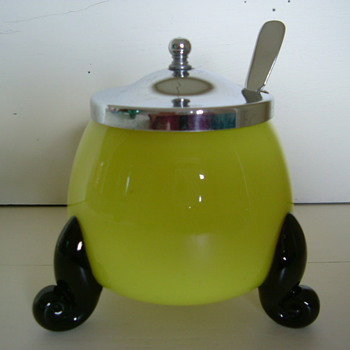 Tango Jam Pot or maybe Mustard Pot - Art Glass