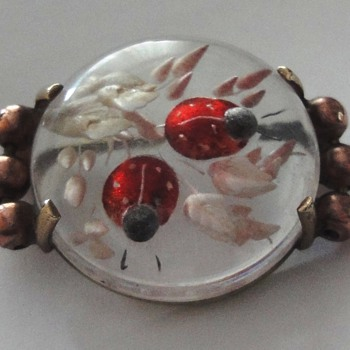 Lucite 50s Lady Bug Brooch set in Copper - Costume Jewelry