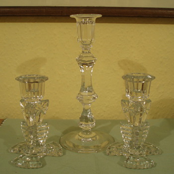 Art Deco Glass Candlesticks - Art Deco