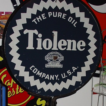 The Pure Oil Company...Tiolene...Double Sided Porcelain Pedastal Sign...Dated 1932...Two Colors - Signs