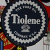 The Pure Oil Company...Tiolene...Double Sided Porcelain Pedastal Sign...Dated 1932...Two Colors