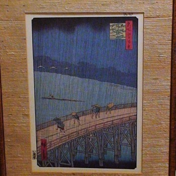 "Vintage Print ""Shower at Atake By Ohashi Bridge"" By Hiroshige"
