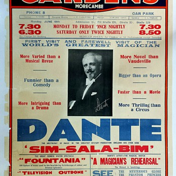 "Original 1936 ""Dante The Magician"" Lithograph Poster - Posters and Prints"