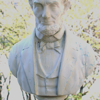 abraham lincoln bust sculpture alabaster damage