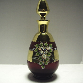 "Craneberry Bohemian decanter""Mid XX Century - Art Glass"