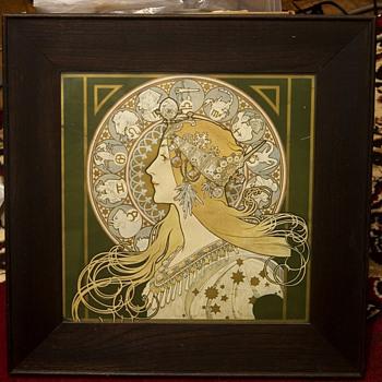 Alphonse Mucha  Zodiac print in original frame - Art Nouveau