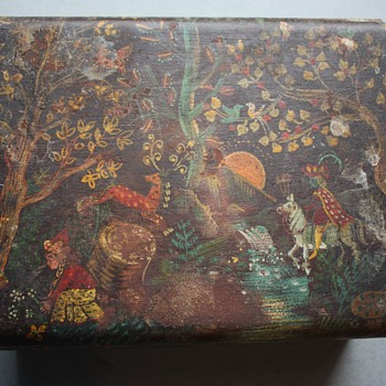 Hand-Painted Folk Art Wooden Box - Folk Art