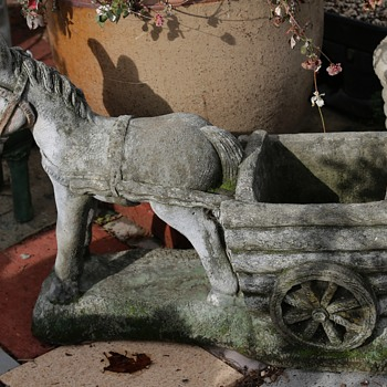 Donkey Pulling a Cart - Cast Stone Planter - Animals