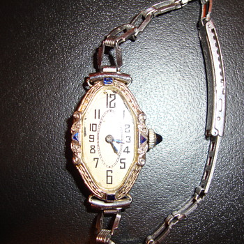 Antique Watch~ Oval ~ with five blue chips (possibly sapphire)  - Wristwatches