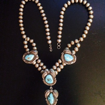 Antique Navajo Turquoise Squash Blossom Silver Necklace  - Fine Jewelry