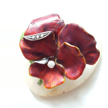 Kyratised Meyle and Mayer enamel pansy brooch.