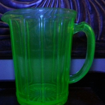 Vintage Green Depression Glass Pitcher with Flat Panel Sides