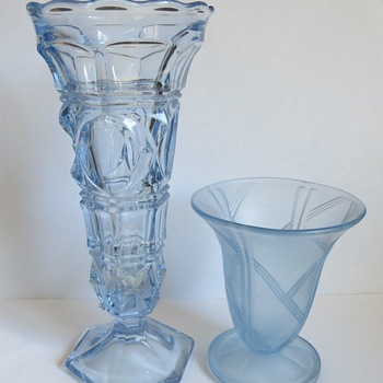 Blue Pressed glass Vases