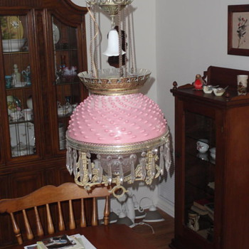 Old oil hanging Hobnail lamp(electrified)
