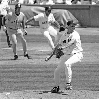 R. Clemans battleing Chuck Finley 1980s - Baseball