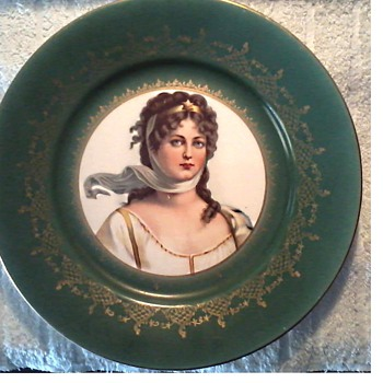 """Empire China"" Portrait Plate/ ""Queen Louise of Prussia"" after a Potrait by Carl Gustav Ludwig Richter/Circa 1890 - China and Dinnerware"