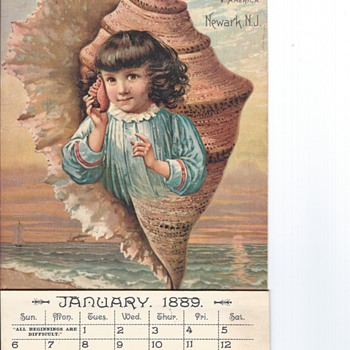 1889 Prudential Insurance Calendar, pristine condition