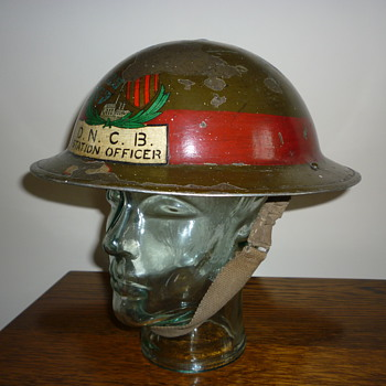 British WWII Senior Mines/Rescue Officer steel helmet.