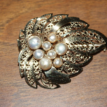Mystery Costume Brooch with Faux Pearls
