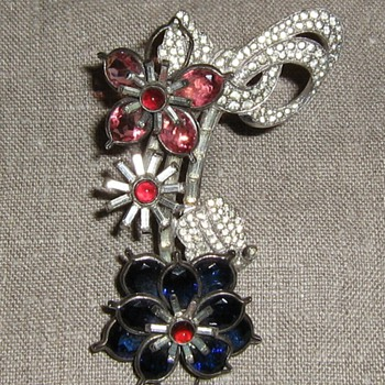Pink, white & blue rhinestone brooch