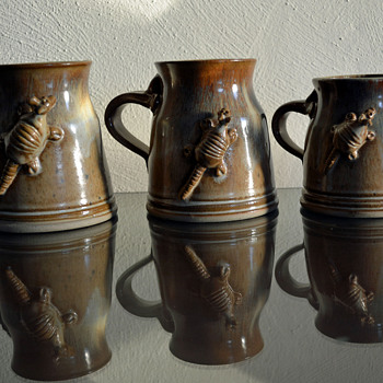 Armadillo Stoneware Mugs - Art Pottery
