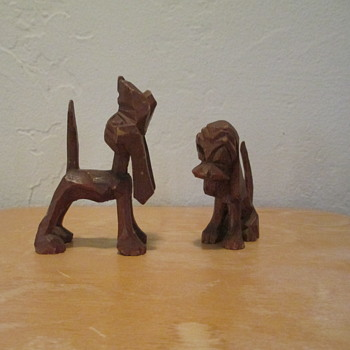 Carved Wood Hound Dogs