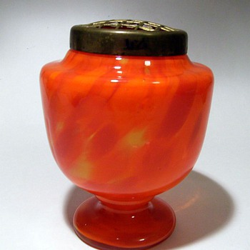 Czech (or Bohemian) Posy Vase (Spatter) with Metal Frog - Art Glass