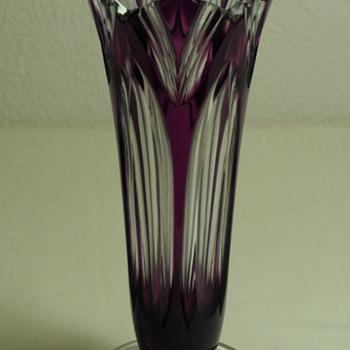 Bohemian Caesar ~ Hand Cut Crystal Vase ~ Lotus Pattern