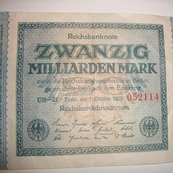 world war 2 recession german bank note